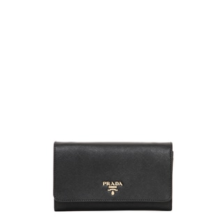 Prada Saffiano Leather Flap Wallet with Strap