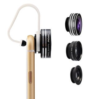Mpow 3-in-1 Clip-on Mobile Device Lens Kit (180-degree Supreme Fisheye/ 0.67X Wide Angle/ 10x Macro Lens)