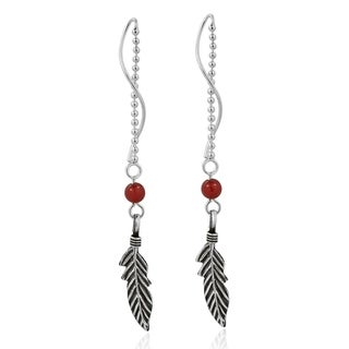 Trendy Tribal Feather Thread Slide .925 Silver Earrings (Thailand)