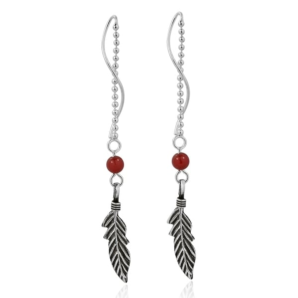 Trendy Tribal Feather Thread Slide .925 Silver Earrings (Thailand) - Red 15346085