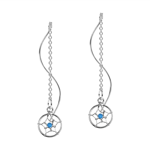 Dreamcatcher Thread Slide Sterling Silver Earrings (Thailand)