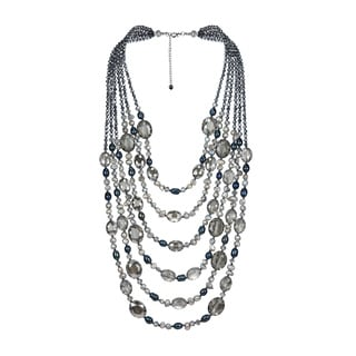 Midnight Paradise Pearl and Crystal Multi Strand Necklace (Thailand)