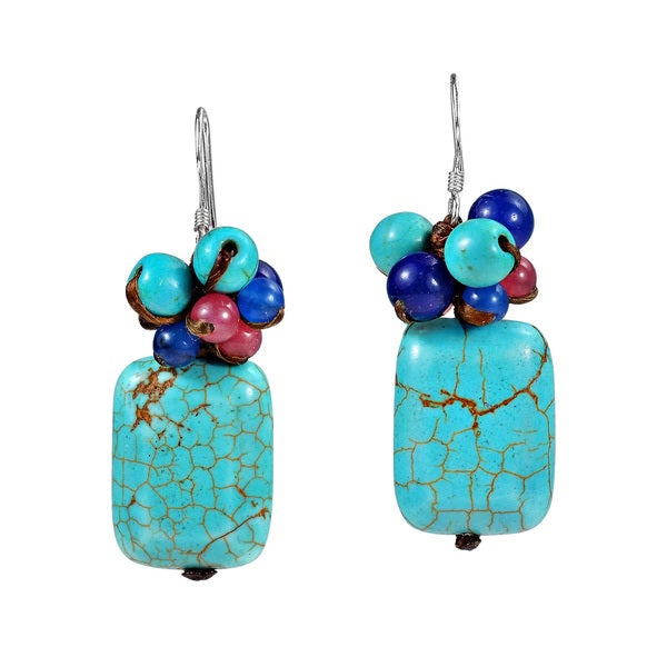 Ethnic Cluster Square Turquoise Sterling Silver Earrings (Thailand)
