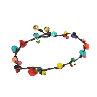 Handmade Rainbow Treasure Multi Stone Jingle Belle Anklet (Thailand)
