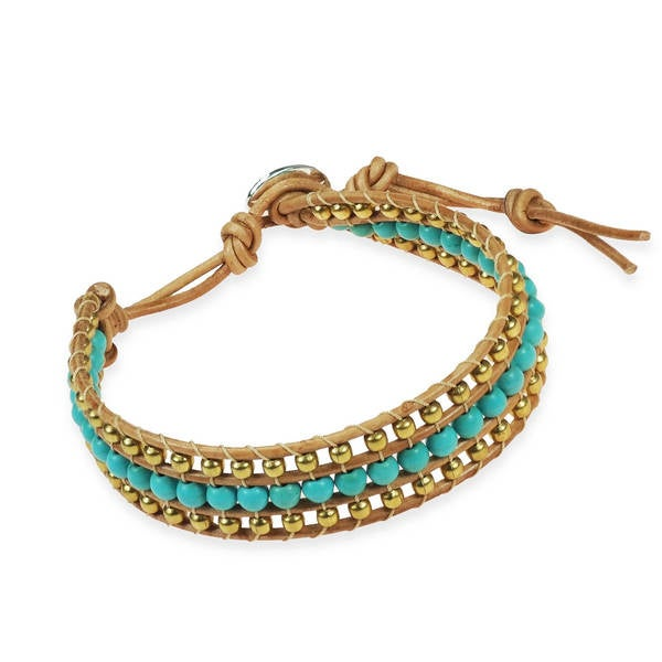 Handmade Bedazzling Belle Turquoise and Brass Nude Leather Bracelet (Thailand) 15346111