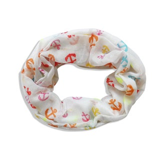 Peach Couture All Seasons Multicolored Nautical Anchor Infinity Scarf