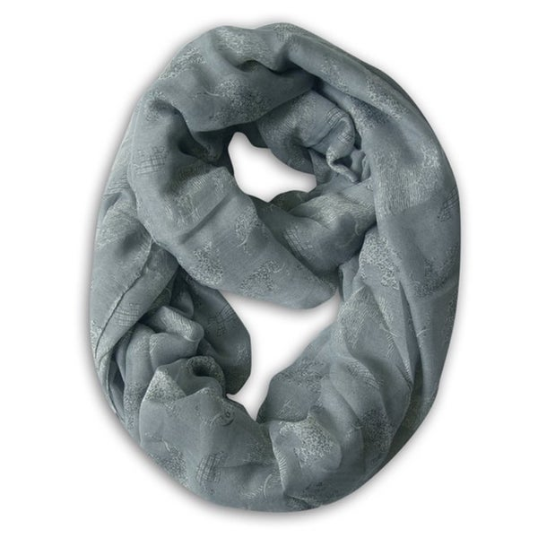Peach Couture Grey Elephant Print Infinity Scarf