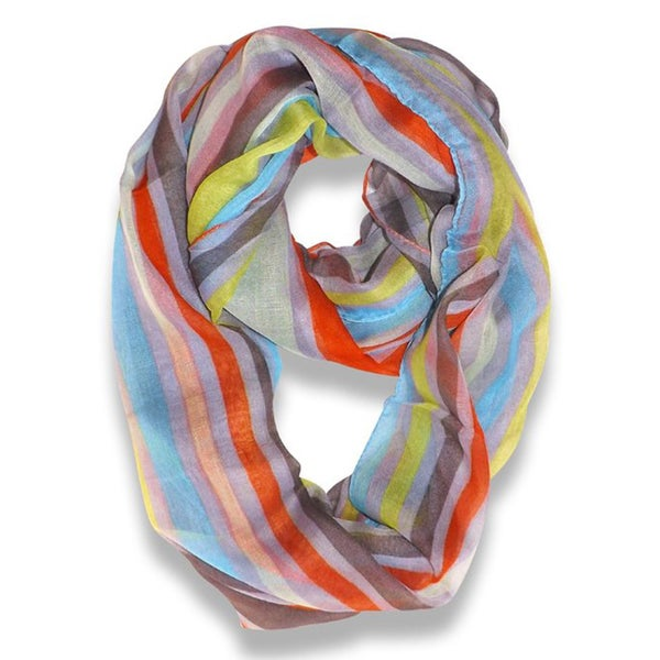 Peach Couture Trendy Neon Mint Striped Print Infinity Scarf