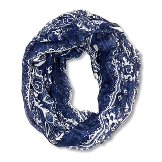 Peach Couture Navy Floral Tattoo Paisley Print Lightweight Infinity Scarf