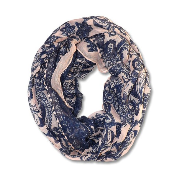 Peach Couture Floral Tattoo Paisley Print Lightweight Infinity Scarf