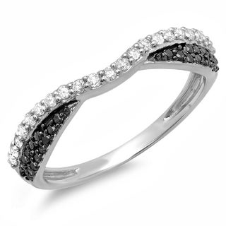 14k White Gold 2/5ct TDW Black and White Diamond Band Ring (H-I, I1-I2)