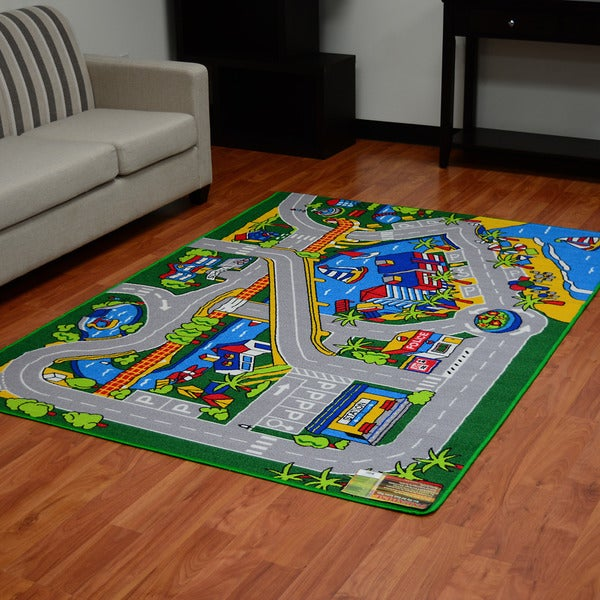 Paradise - Harbor City Street Map Design Multi-color Area Rug (5'x7')