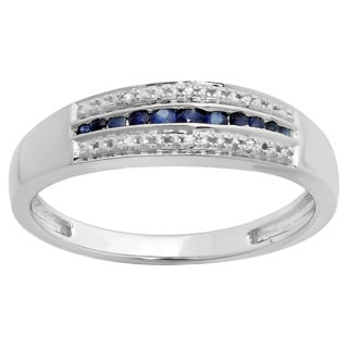10k White Gold Blue Sapphire and 1/5ct TDW Diamond Stackable Anniversary Ring (I-J, I2-I3)