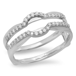 14k White Gold Round 1/3ct TDW Diamond Anniversary Double Band Ring Guard (I-J, I1-I2)