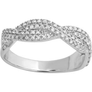 10k White Gold Round 1/2ct TDW Diamond Stackable Swirl Wedding Band (I-J, I1-I2)