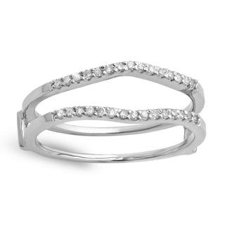 14k White Gold 1/5ct TDW Diamond Anniversary Double Band Ring Guard (I-J, I2-I3)