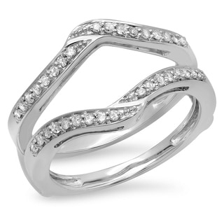 14k White Gold 1/3ct TDW Diamond Anniversary Double Band Ring Guard (I-J, I1-I2)