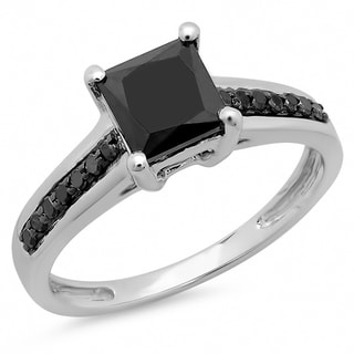 14k White Gold 1 3/5ct TDW Black Diamond Bridal Solitaire Engagement Ring