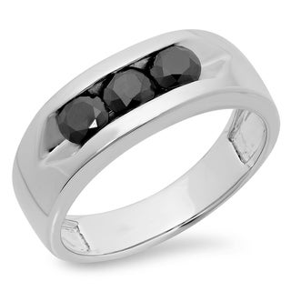 Sterling Silver Men's 1 1/10ct TDW Channel-set Black Diamond 3-stone Anniversary Band