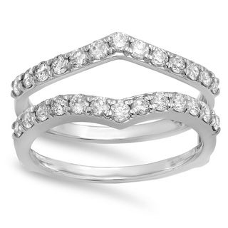 14k White Gold 1ct TDW Diamond Double-band Ring Guard (I-J, I1-I2)