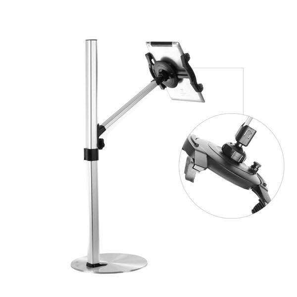 Loctek Universal 7 to 12-inch Tablet Height Adjustable Floor Stand Silver Finish