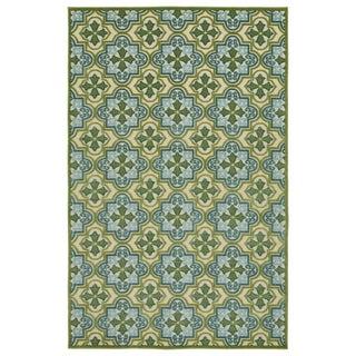 Indoor/Outdoor Luka Green Tile Rug (5'0 x 7'6)