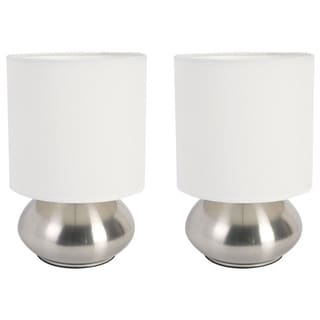 Simple Designs Gemini Two Pack Mini Touch Lamp with Brushed Steel Base and Fabric Shades