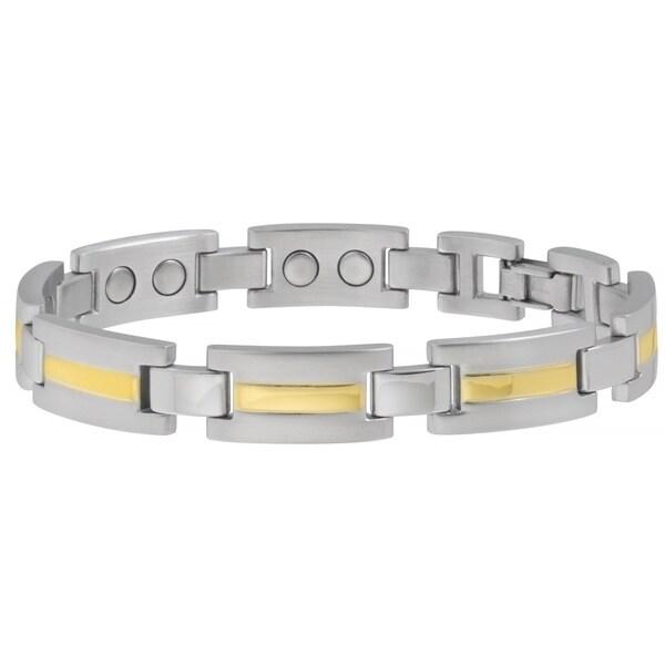 Sabona 18k Gold and Silver Executive Dress Duet Extra Large Magnetic Bracelet
