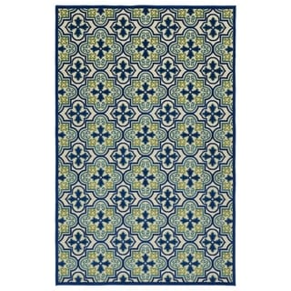 Indoor/Outdoor Luka Blue Tile Rug (5'0 x 7'6)