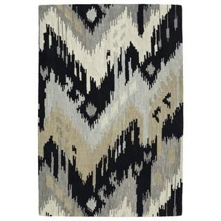 Manhattan Hand-Tufted Black Ikat Rug (7'6 x 9'0)