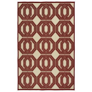 Indoor/Outdoor Luka Red Geo Rug (8'8 x 12'0)