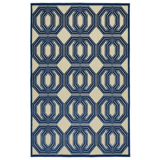 Indoor/Outdoor Luka Navy Geo Rug (5'0 x 7'6)