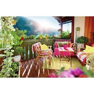 Indoor/Outdoor Luka Gold Geo Rug (7'10 x 10'8)