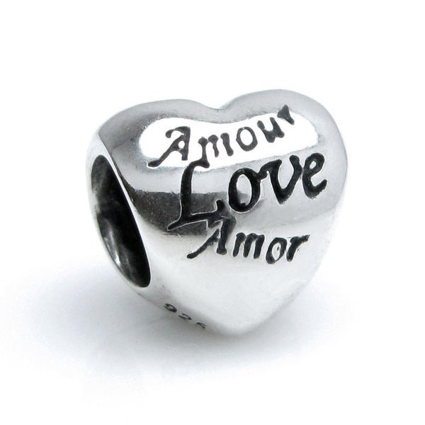 Queenberry Sterling Silver Petite Amor Love Valentine Heart European Bead Charm
