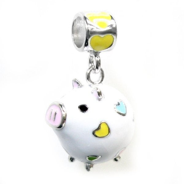 Queenberry Sterling Silver Lovely Fat White Pig Heart Enamel European Bead Charm