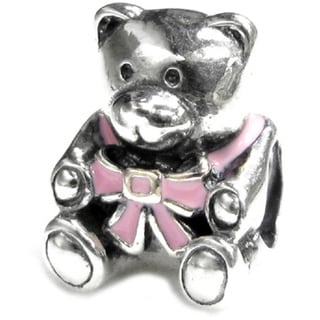 Queenberry Sterling Silver Pink Rose Enamel Teddy Bear Doll Screw-on European Bead Charm