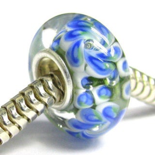 Queenberry Sterling Silver Murano Flower Green/ Blue Lampwork Glass European Bead Charm