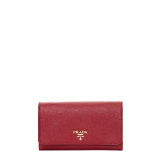 Prada Red Saffiano Leather Flap Wallet with Strap