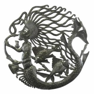 24-inch Musical Mermaid Metal Wall Art (Haiti)