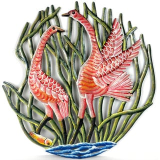 24-inch Painted Two Cranes in Reeds Metal Wall Art (Haiti)