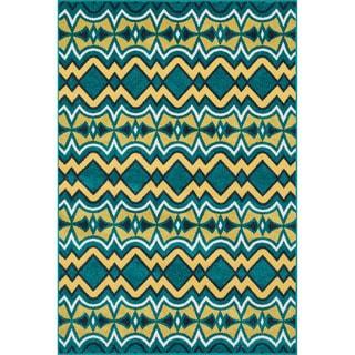 Indoor/ Outdoor Palm Peacock/ Citron Rug (9'2 x 12'1)