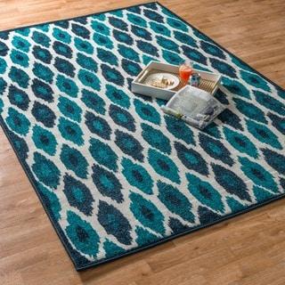 Indoor/ Outdoor Palm Peacock/ Ivory Rug (7'10 x 10'9)