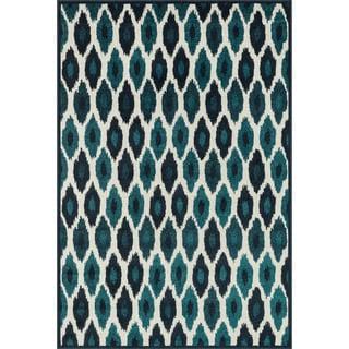 Indoor/ Outdoor Palm Peacock/ Ivory Rug (2'3 x 3'9)