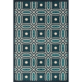 Indoor/ Outdoor Palm Navy/ Teal Rug (9'2 x 12'1)