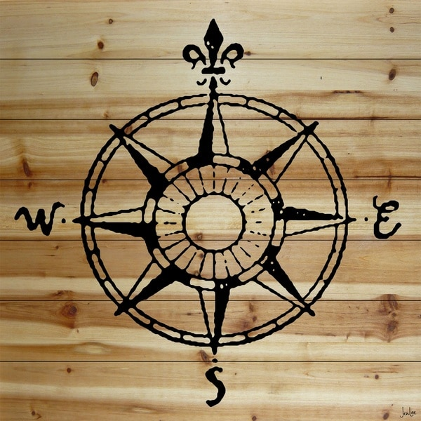 Marmont Hill Art Collective 'Compass' Natural Pine Wood art