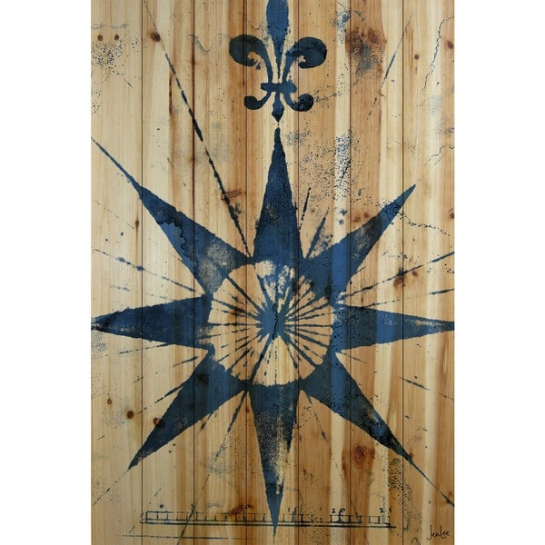 Marmont Hill Art Collective 'Vintage Compass' Natural Pine Wood art
