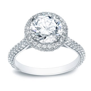 Auriya 18k White Gold 3ct TDW Certified Round Diamond Engagement Ring (H-I, SI1-SI2)