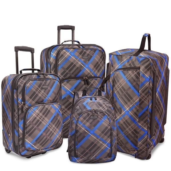 U.S. Traveler by Traveler's Choice Camarillo Blue/ Grey Plaid 4-piece Casual Luggage Set