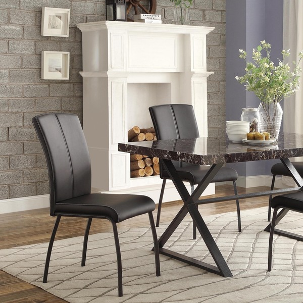 Danbury Metal Contoured Upholstered Dining Chair (Set of 2 ...