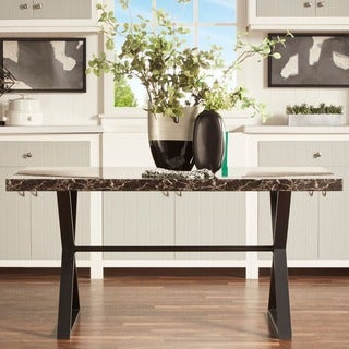 Danbury Faux Marble Top X-frame Base Dining Table